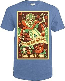 San Antonio, Texas - Dia de los Muertos (Day of the Dead) - Lucha Libre del Fuego Press 89053 (Heather Royal T-Shirt XX-Large)