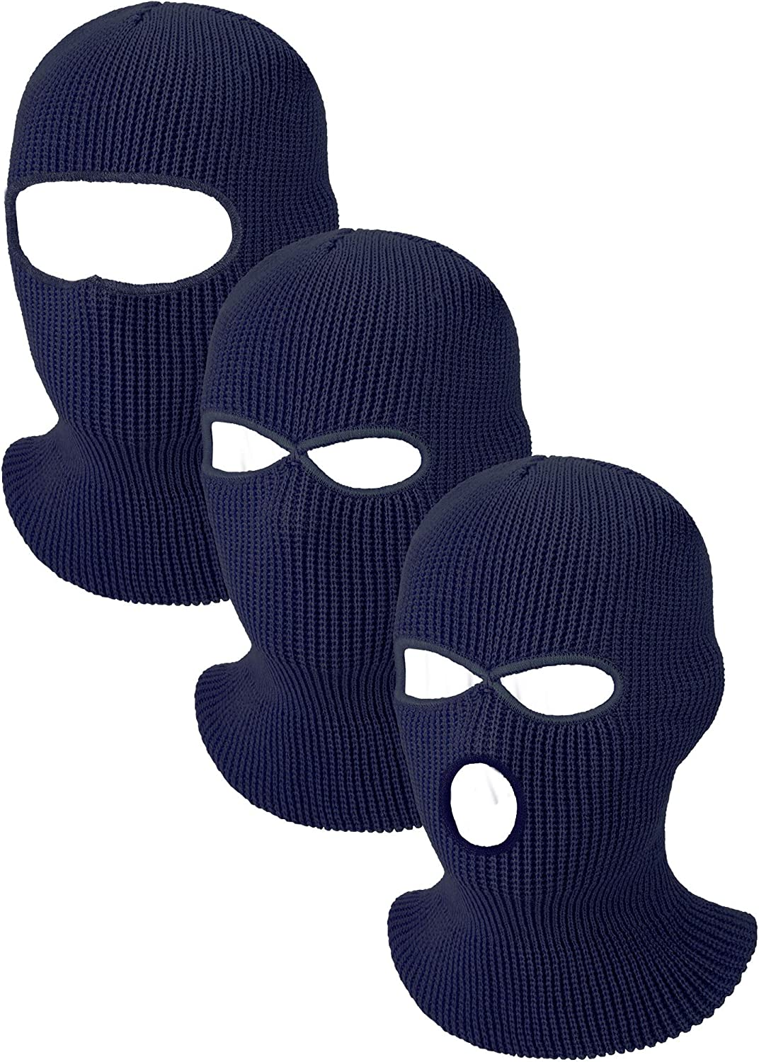 3 Pieces Knit Full Face Cover Winter Balaclava Face Covering Thermal Ski Cover for Adult