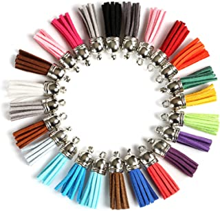 Kissitty 100-Piece Random Mixed Color 1.37~1.45 35-37mm Faux Suede Tassel Pendants with Golden Acrylic Cord Ends Caps for Keychain Phone Straps DIY Craft Jewelry Making