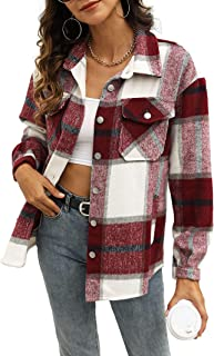 UANEO Womens Casual Plaid Wool Blend Button Down Long Sleeve Shirt Jacket Shackets