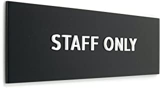 Kubik Letters Staff Only Sign, Modern Design Door Sign for Employees Only Area with 3M Double Sided Tape