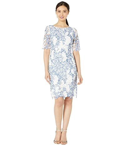 Tahari by ASL Elbow Sleeve Corded Chemical Lace Dress (Off-White Leaves) Women