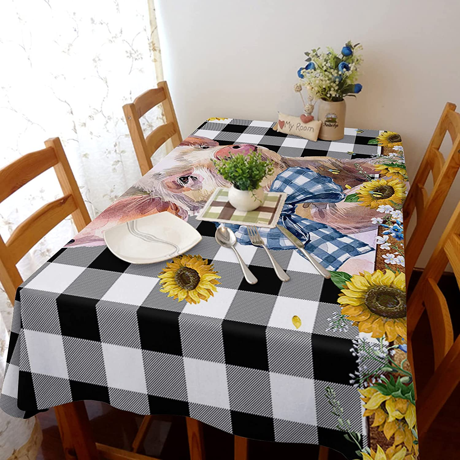 Flouky 60x140in Stretch Durable Tablecloth Shipping included Linen Genuine Free Shipping Dust-Pro Cotton