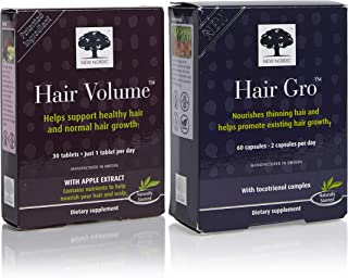 New Nordic Hair Volume w/Apple Extract, 30 Tablets, and Hair GRO, 60 Capsules
