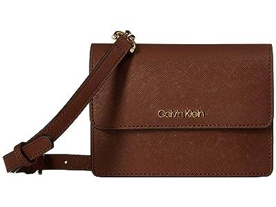 Calvin Klein Hayden Saffiano Leather Crossbody (Walnut) Cross Body Handbags
