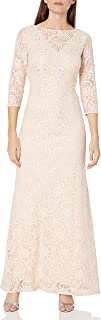 Women's Long Lace Dress with Illusion Neckline and Sleeves