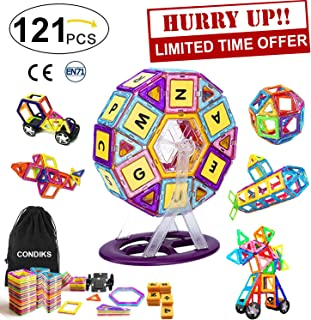 CONDIKS Magnetic Building Blocks Toys Set for Kids 121Pcs, Magnetic tiles Magets STEM Educational Construction Preschool Learning Toys for Kids Age 2 3 4 5 6 7 Year Old Boys Girls Toddlers Gifts Ideas