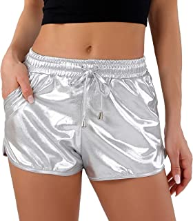Metallic Shorts for Women Hot Sparkly Shiny Shorts with...