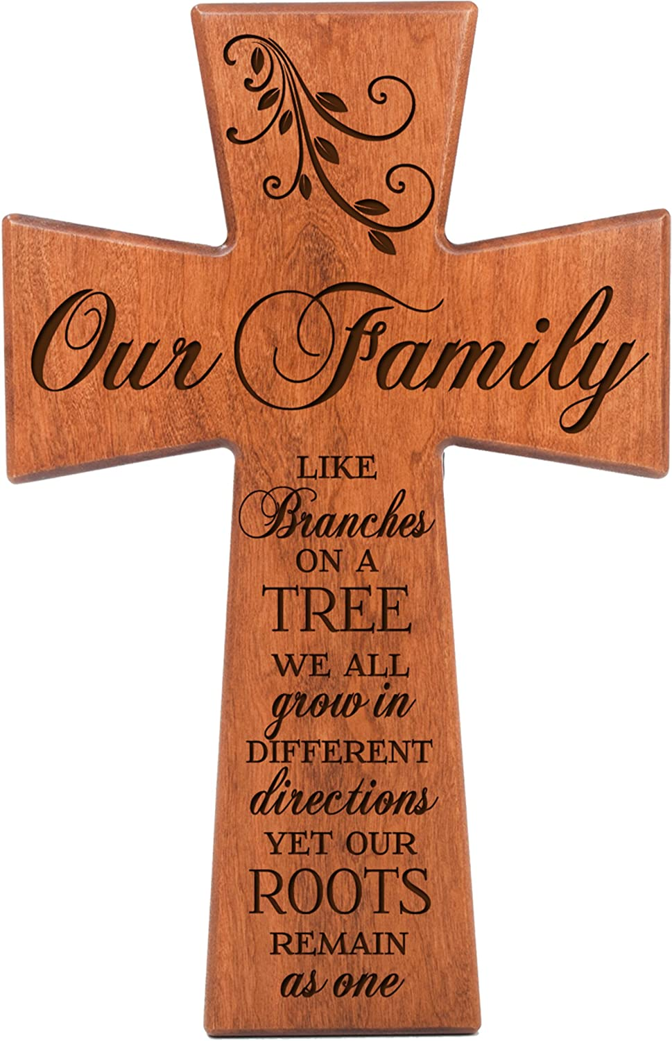 LifeSong Milestones Our Family Like Branches on a Tree We All Grow in Different Directions Yet Our Roots Remain As One Cherry Wood Wall Cross 61556
