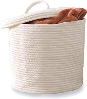 Vada Designs Storage Basket with Lid - Large Woven Cotton Rope Basket with Lid and Handles 15 x 13 | for Nursery Laundry R...