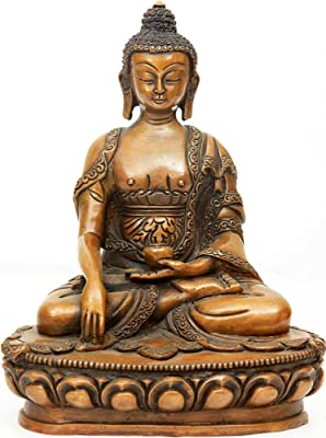 Lord Buddha Seated in Earth Witness Gesture - Copper Sculpture