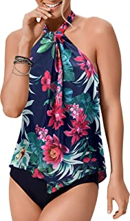 Upopby Women's Sexy High Neck Flounce One Piece Swimsuits Printed Halter Bathing Suits Plus Size Swimwear