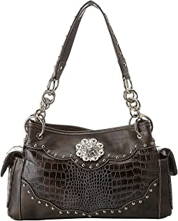 Large Concho Croco Print Satchel