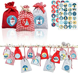 Christmas Ornaments 2020 Set, 24 Hanging Advent Calendars Garland Candy Gift Bags, Sacks DIY Xmas Christmas Decorations for Wall Home Office (Felt)