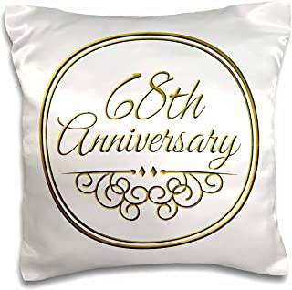 3D Rose 68Th Gold Text for Celebrating Wedding Anniversaries-68 Years Married Together Design Pillowcase 16