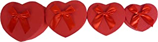 Cypress Lane Hand Made Heart Shaped Rigid Gift Box with Ribbon, a Nested Set of 4 (Red)