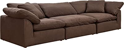 Sunset Trading Cloud Puff Sectional, Configurable, Chocolate Brown