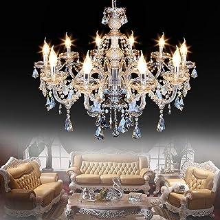 Ridgeyard Cognac10 Lights Modern Luxurious K9 Crystal Chandelier Candle Pendant Lamp Ceiling Living Room Lighting for Dining Living Room Bedroom Hallway Entry 25.6 x 35.4 Inch Gifts(Cognac Color)