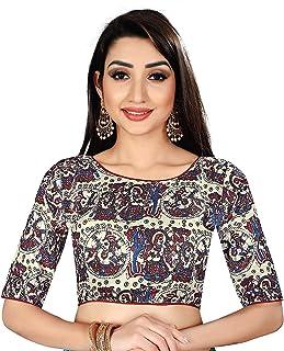 Ocean Fashion Women's Satin Silk Kalamkari Work Round Neck Readymade Saree Blouses
