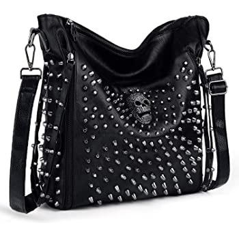 UTO Women Handbag PU Leather Skull Tote Crossbody Shoulder Bag with Wristlet Wallet A Black