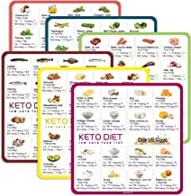 Keto Cheat Sheet Magnets(6 Pcs), Keto Products for Beginner, Quick Guide Fridge Magnetic Reference Visual Charts for 96 Ke...