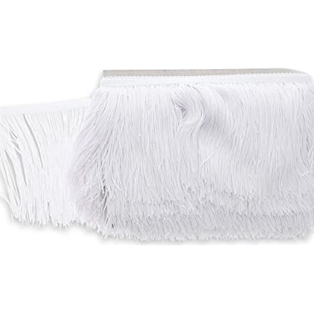 WellieSTR 5 Yards X 6cm//2.4inch Wide Cotton Tassel Fringe in White