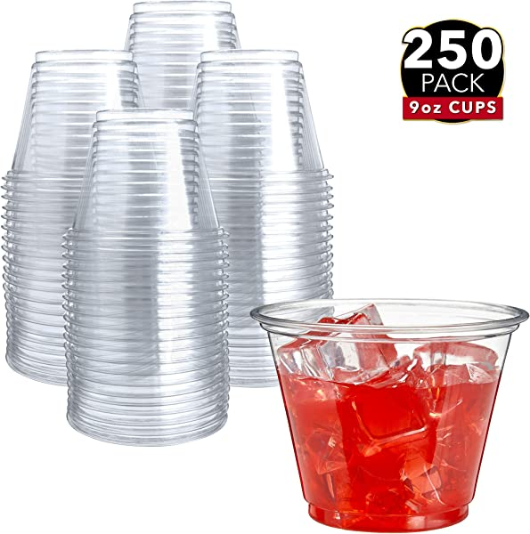 250 Clear Plastic Cups 9 Oz Plastic Cups Clear Disposable Cups PET Cups Clear Plastic Party Cups Crystal Clear Plastic Cups