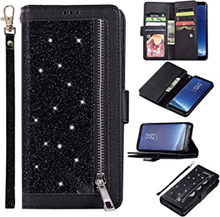 EYZUTAK Wallet Case for Samsung Galaxy S8 Plus,Magnetic Handbag Zipper Pocket PU Leather Flip with 9 Card Slots and Wrist Strap Folio TPU Inner Stand Case for Samsung Galaxy S8 Plus - Black