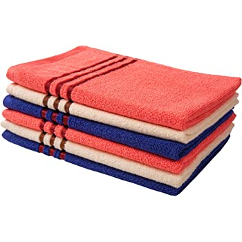 Palatial Lifestyles Hand Towels Set of 6. Ultra-Soft for Sensitive Skins,Highly Absorbent & 100% Cotton Zero Twist Towels,Size 16 x 24 inch(Ivory, Coral & Navy Blue)
