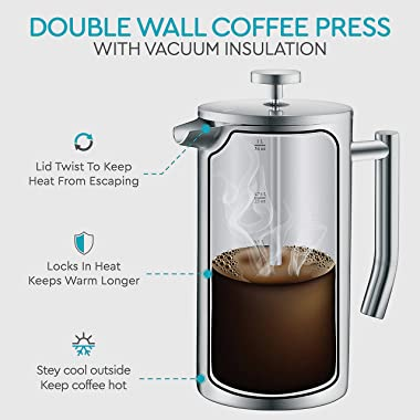 Belwares French Press Coffee Maker - Double Wall 304 Stainless Steel - 4 Level Filtration System with 2 Extra Filters, Silver