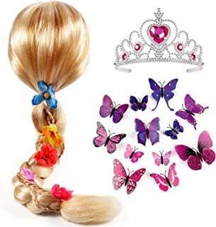 Princess Rapunzel Wig for Girls with Princess Tiara and Butterfly Pin Princess Rapunzel Dress up Accessories for Girls Kids