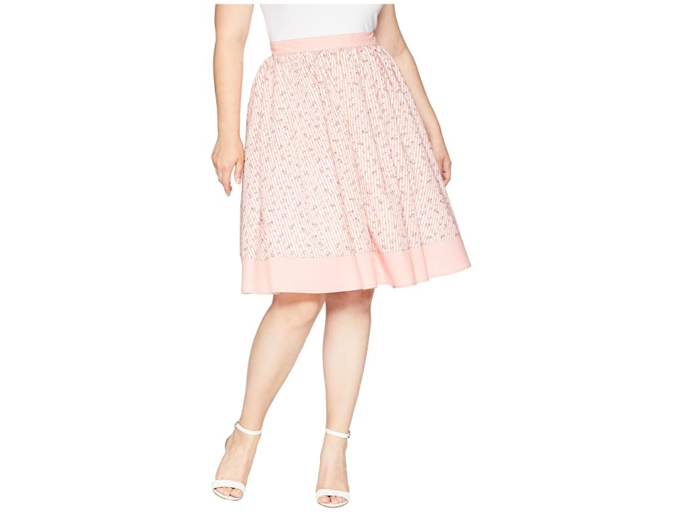 Unique Vintage Plus Size Rye Swing Skirt (Pink/White Stripe/Floral) Women