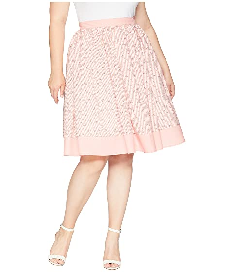 Unique Vintage Plus Size Rye Swing Skirt Pink/White Stripe/Floral Affordable Supply For Sale gSUOENsQO4
