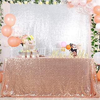 B-COOL 50x80inches Rose Gold Sequin Fabric Tablecloth Sequin Panels Party Baby Shower Reception Tablecloth