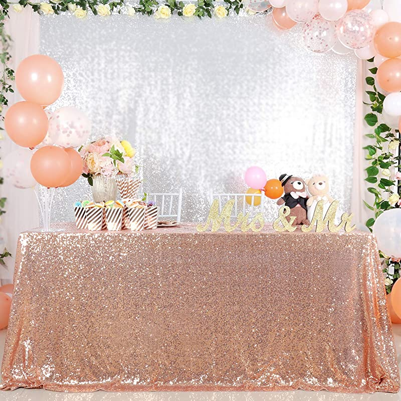B COOL Rose Gold Rectangular Sequin Tablecloth 90X132inch Wedding Table Decoration Glamorous Sequin Tablecloth Christmas Sequin Tablecloth