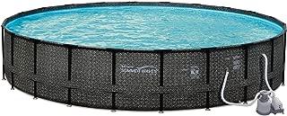 Summer Waves 24ft x 52in Elite Wicker Above Ground Frame Pool Set & Sand Pump
