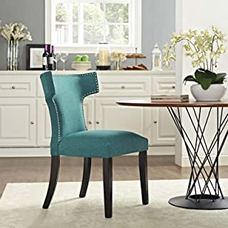 Modway Curve Mid-Century Modern Upholstered Fabric Kitchen and Dining Room Chair with Nailhead Trim in Teal
