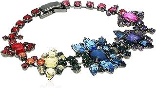 Steve Madden Women's Rainbow Rhinestone Star Flower Gunmetal-Tone Link Bracelet