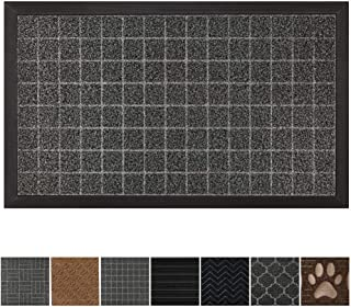 GRIP MASTER Durable, Tough All-Natural Rubber Doormats, 29x17 Size, Waterproof Boot Scraper Mats, Heavy Duty Indoor Outdoor Door Mat for Winter Snow, Low-Profile, Easy Clean, Charcoal Big Squares