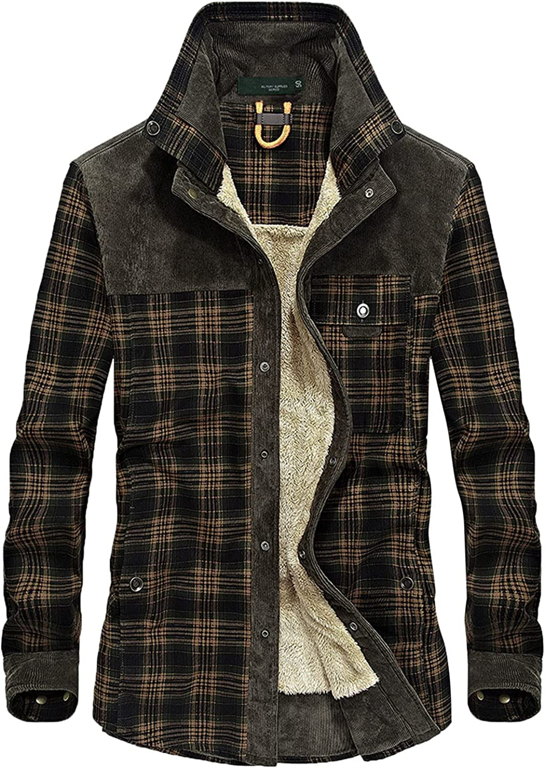 Men's Plaid Stamp Jackets,Long Sleeved Warm Lined Plush Thicken Shirt V27