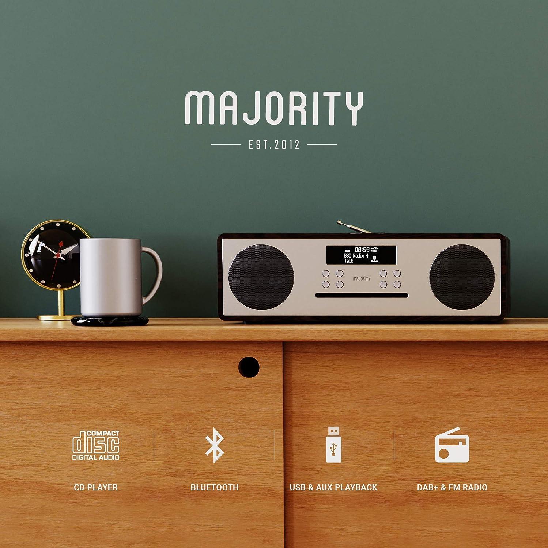 Majority Oakington DAB//DAB+ Radio Digital FM Reproductor de CD inal/ámbrico Bluetooth Sistema de altavoces est/éreo micro compacto Hi-Fi Control remoto Carga USB y reproducci/ón de MP3 nogal