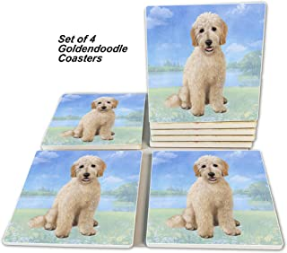 Goldendoodle Coasters - Moisture Absorbing Stone Coasters with Cork Base, Prevent Furniture from Dirty and Scratched, Ston...