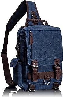 Leaper Canvas Crossbody Bag Sling Bag Outdoor Brusttasche Unisex Umhängetasche S,Dunkelblau