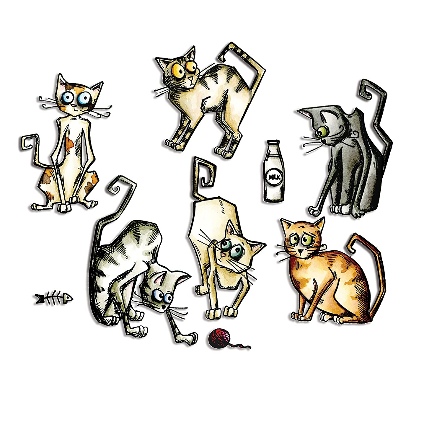 Sizzix 661209 Framelits Dies by Tim Holtz Crazy Cats