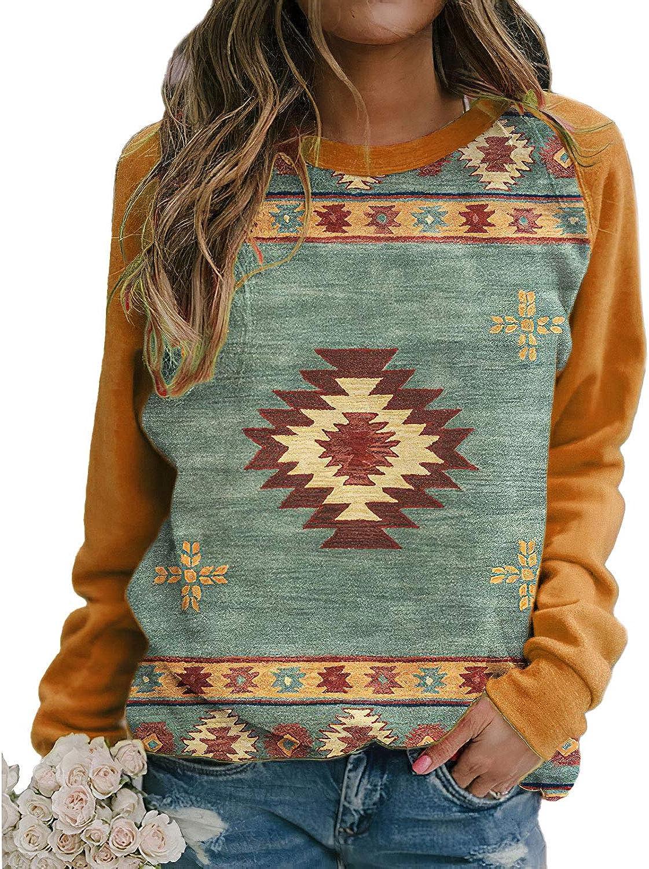 Women's Western Ethnic Print Sweatshirt Hoodie Vintage Casual Aztec Print Long Sleeve Shirt Pullover