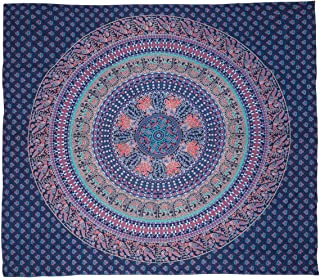 Nidhi Dark Blue Mandala queen Tapestry with elephants, Peacocks and birds, Wall Hanging, Picnic Blanket, Beach Mat, Bedcov...