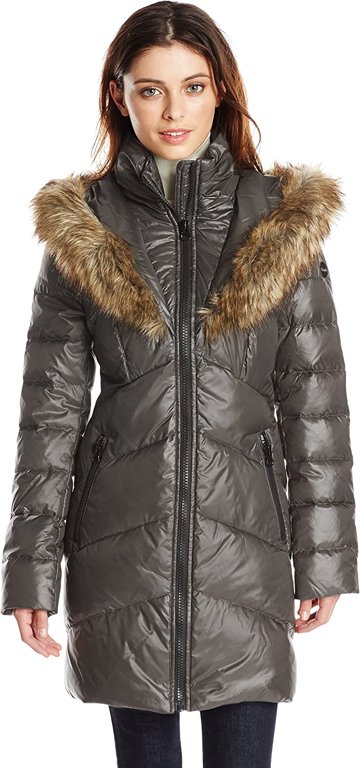 Kensie Women's Financial sales sale Chevron Easy-to-use Down Coat Lined with Faux-Fur Hood Heart