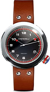 Chotovelli Men's Gauge Watch Alfa Romeo dial Sapphire Italian Leather Strap 80.3