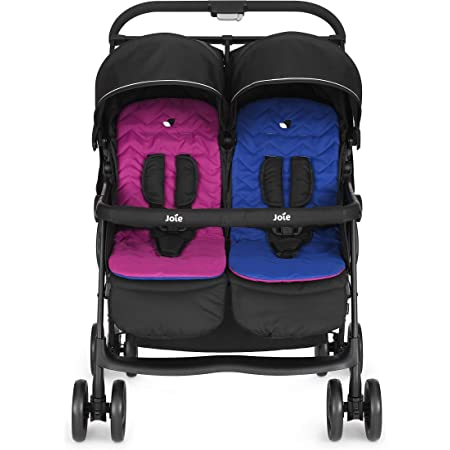 Joie Aire Twin Ultra Lightweight and One Hand-fold Stroller with Flat Reclining Seats (Birth to 15kg)