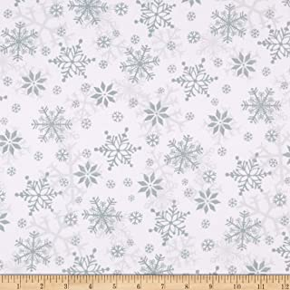 Henry Glass Flannel Winter Whimsy Snowflakes White/Gray Fabric by The Yard